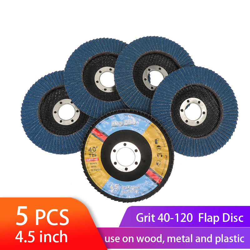 5PCS Flap Discs 115mm 4.5 Inch Sanding Disc 40/60/80/120 Grit Grinding Wheels Blades For Angle Grinder