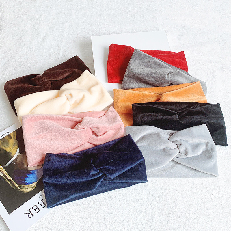 Winter Suede Fabric Turban Hairband Korean Solid Color Knot Cross Headband For Women Head Wrap Girls Lady Hair Accessories