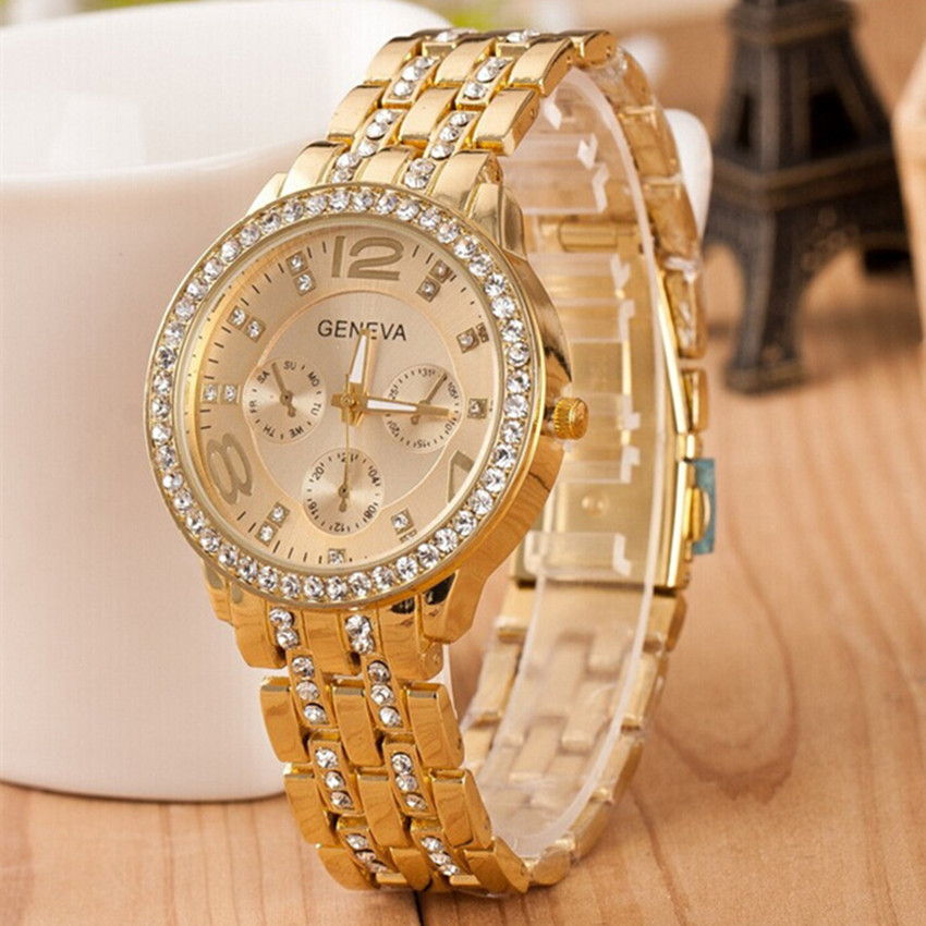 Reloj Mujer New Luxury Brands Geneva Women Watches Crystal Stainless Steel Quartz Watch Lady Outdoor Sport Watch часы