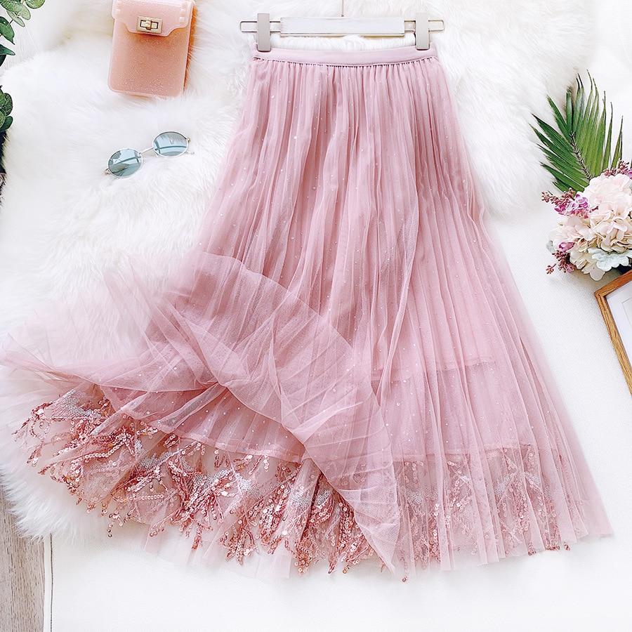 2020 Women Summer A-Line Long Skirt High Waist Women Sequins Mesh Skirt Boho Pink Maxi Skirt Faldas Jupe Femme Saia