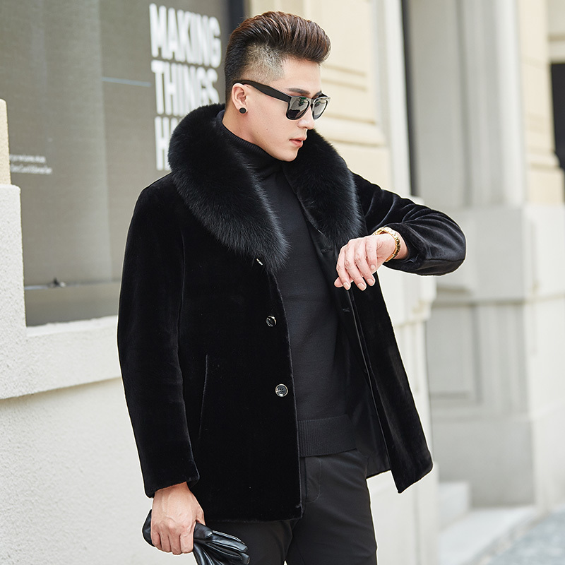 Natural Wool Fur Coat 2020 Winter Jacket Men Luxury Real Fox Fur Collar Jackets Mens Real Sheep Shearing Fur Coats MY743