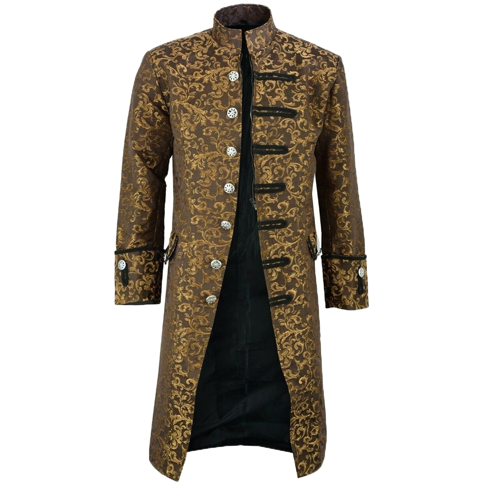 Hf063e9bc31784d2f9b3e26f9904da891V New Men's Vintage Tailcoat Jacket Gothic Steampunk Long Sleeve Jacket Victorian Dress Jacket Halloween Casual Button Clothing