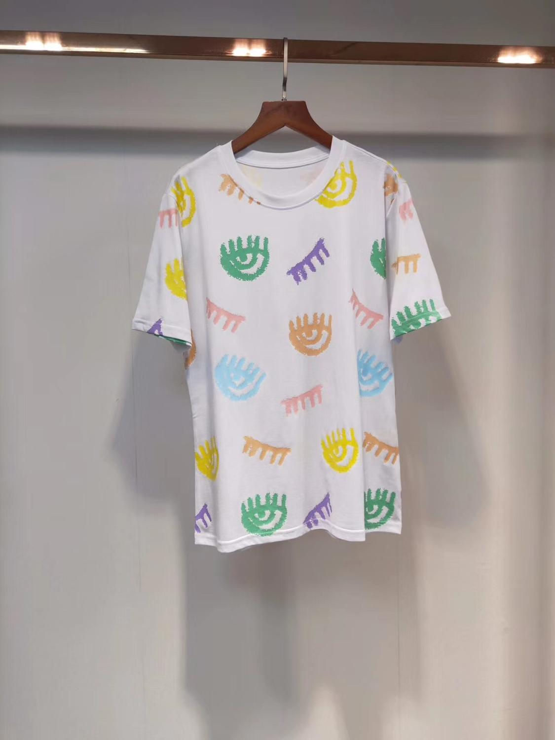 2020  Summer New Fashion Women T Shirts Cotton Chiara Ferragni Sequins Acne Style Men T-Shirts 9