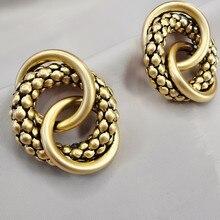 Ouro grande círculo versão coreana de metal geométrico feminino brincos de ouro feminino retro brincos de gota 2020 tendência moda jóias