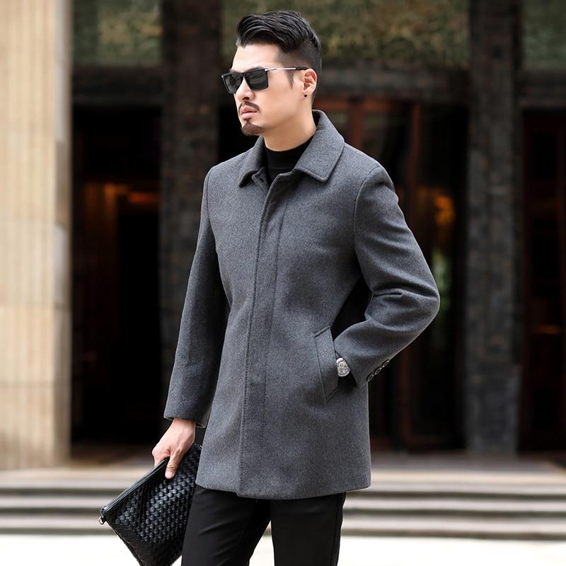 8XL 6XL 5XL Wool Blend Men's Coat Woollen Overcoat Winter Autumn Men Coat Fashion Brand Clothing Lined Warm Woolen Overcoat Male - 2