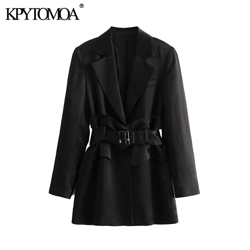 Vintage Stylish Office Wear Pockets With Belt Blazer Coat Women 2020 Fashion Notched Collar Long Sleeve Outerwear Chic Tops