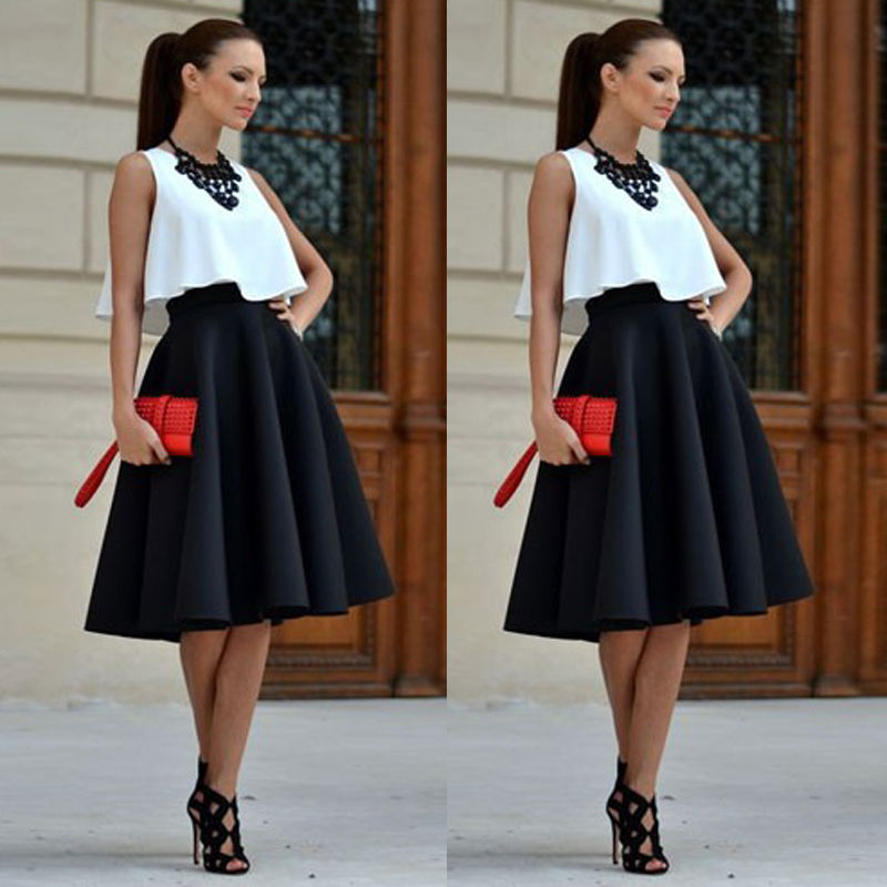 Two Pieces Sexy Vintage Office Ladies Women White Crop Top And Black Midi Skirt Outfits Clothing Set Party Club Wear