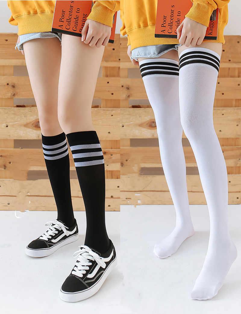 Thigh High Socks Women's White Black