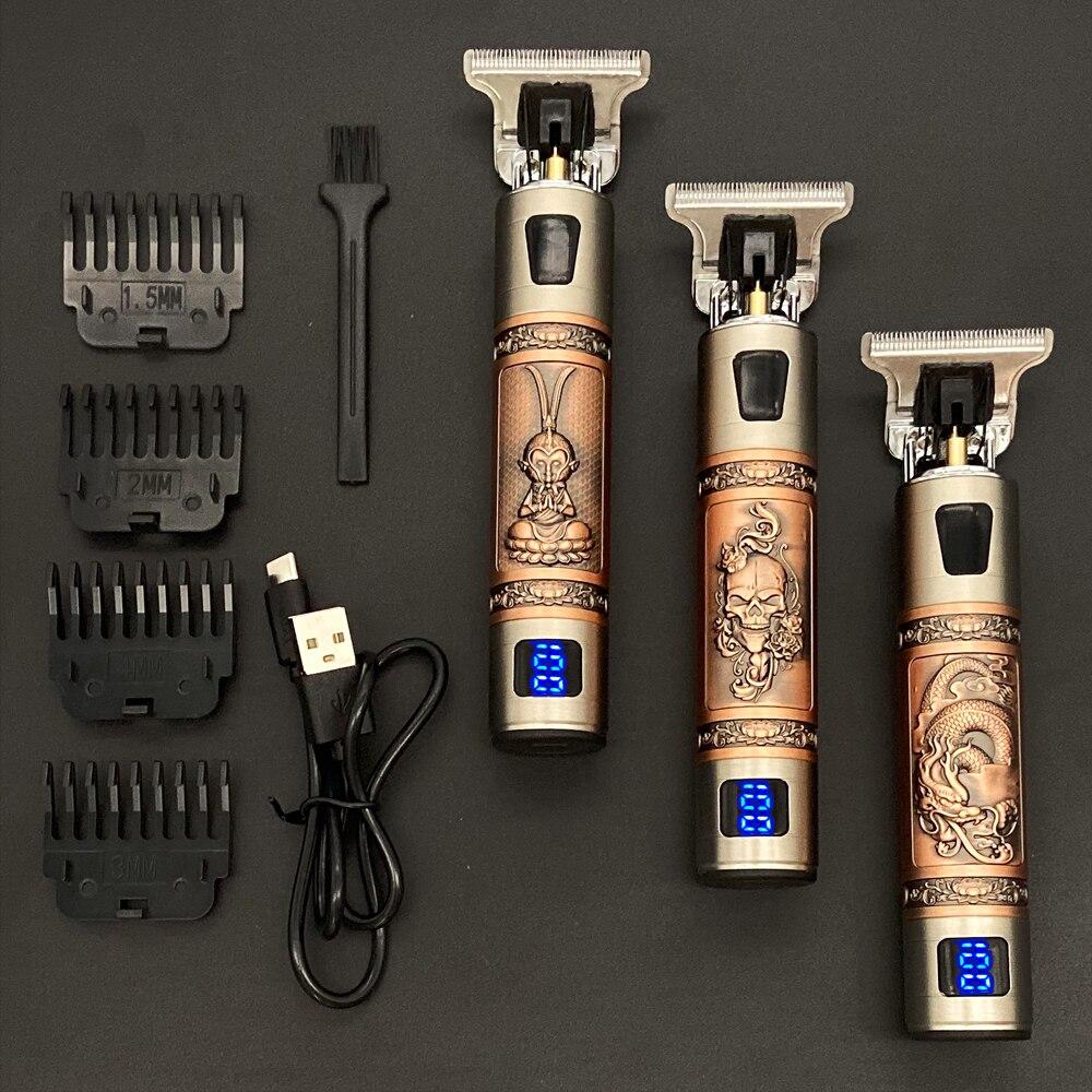 2021 USB T9 גוזז שיער מקצועי חשמלי שיער גוזם מספרה מכונת גילוח גוזם זקן 0mm גברים שיער מכונת חיתוך עבור גברים