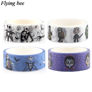 Flyingbee 4pcs/set Horror movies cartoon tape Killer Adhesive Tape The night before Christmas Paper Washi Tape Sticker set X0640(China)