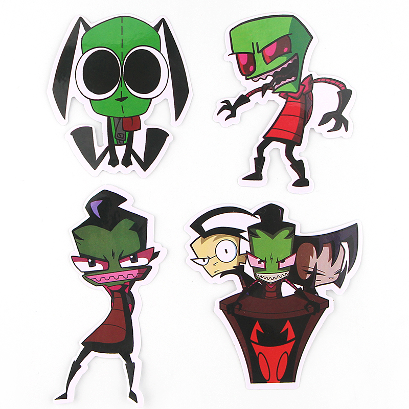 38pcs Invader Zim Cute DIY decorative Pvc Waterproof sticker Cartoon style for DIY wall notebook phone scrapbooking album E0736 in Stickers from Home Garden
