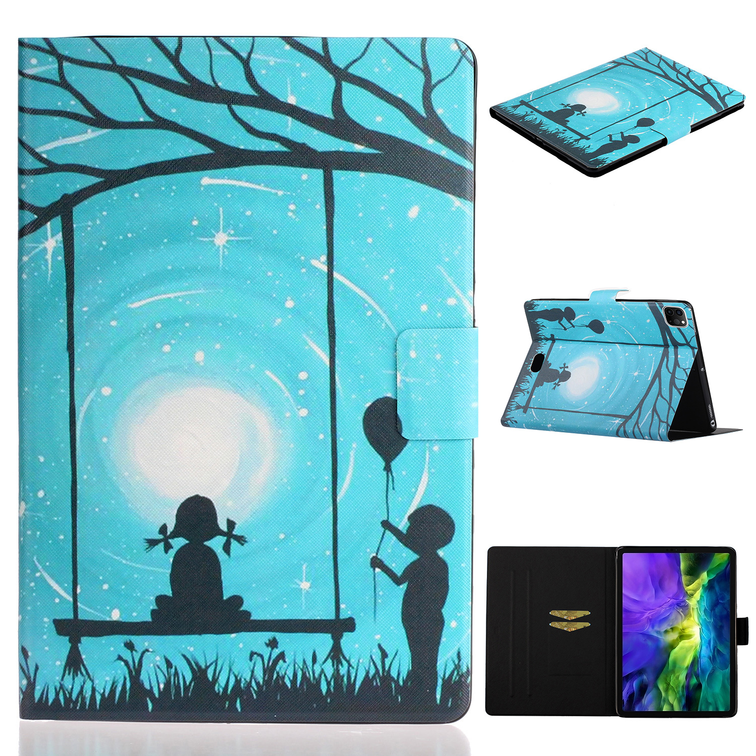 2 White For iPad Pro 11 inch 2020 Case Cheap PU Leather Painted Smart Folio Case for iPad