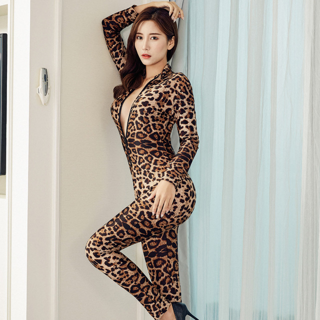 New Fashion Brand Women Black Striped Sheer Bodysuit Smooth Fiber 2 Zipper Long Sleeve Jumpsuit 1