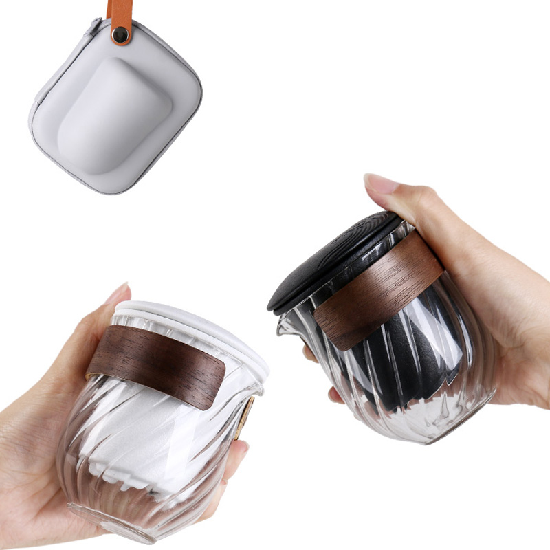 Kung Fu Tea Set Puer Cup Teapot Storage Bag Ceramic Glass Teaware Vintage Drinkware Travel Tea Sets Easy Carry Decor Crafts Cups