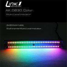 LINK1 듀얼 30 레벨 표시기 VColorful 음악 오디오 스펙트럼 표시기 스테레오 증폭기 VU 미터 원격 제어