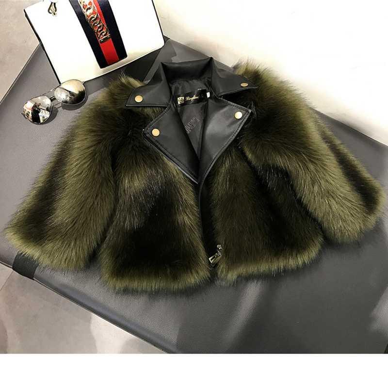 Winter Mother Daughter Faux Fur Leather Coat Children's Artificial Fox Fur Girls Jacket Kids Elegant Boutique Clothes TZ422