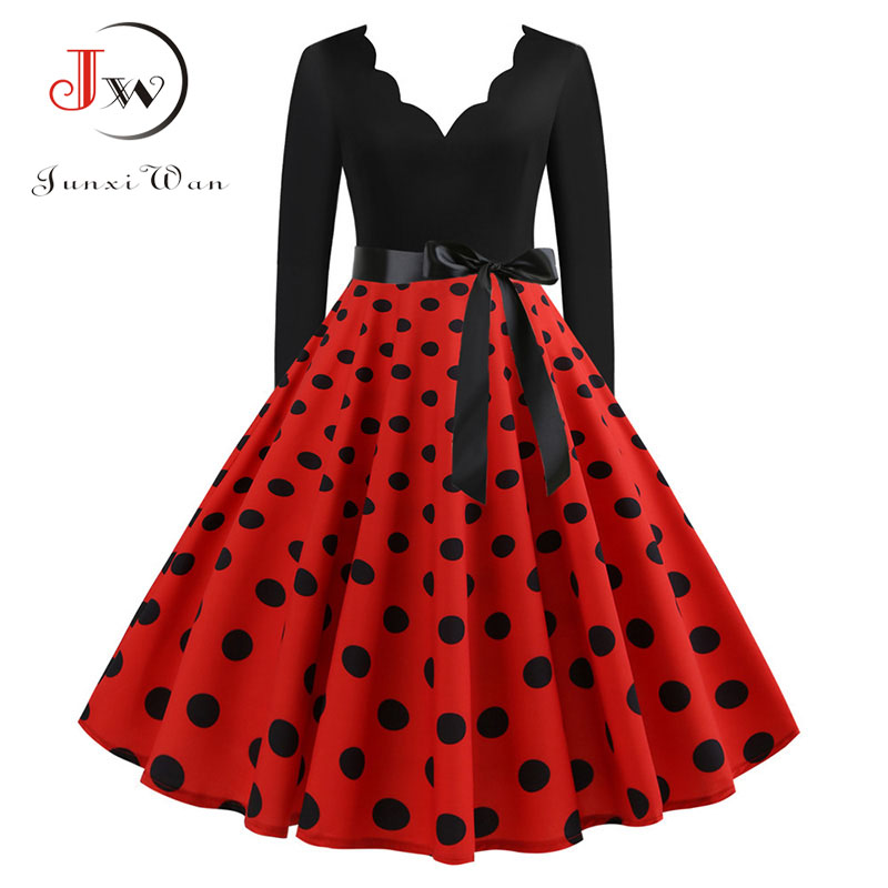 New Women Long Sleeve Vintage Polka Dot Dress Pin Up Gothic Winter New Year Party Dresses Plus Size 3XL Black Vestidos