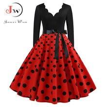 Nowa damska z długim rękawem w stylu Vintage sukienka w kropki Pin Up gotyckie zimowe przyjęcie noworoczne sukienki Plus rozmiar 3XL czarny Vestidos