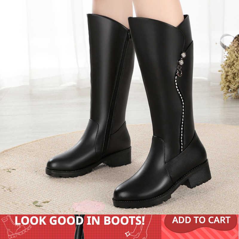 GKTINOO yüksek kaliteli diz yüksek çizmeler kadın hakiki deri kışlık botlar rahat sıcak yün kadın uzun çizmeler ayakkabı