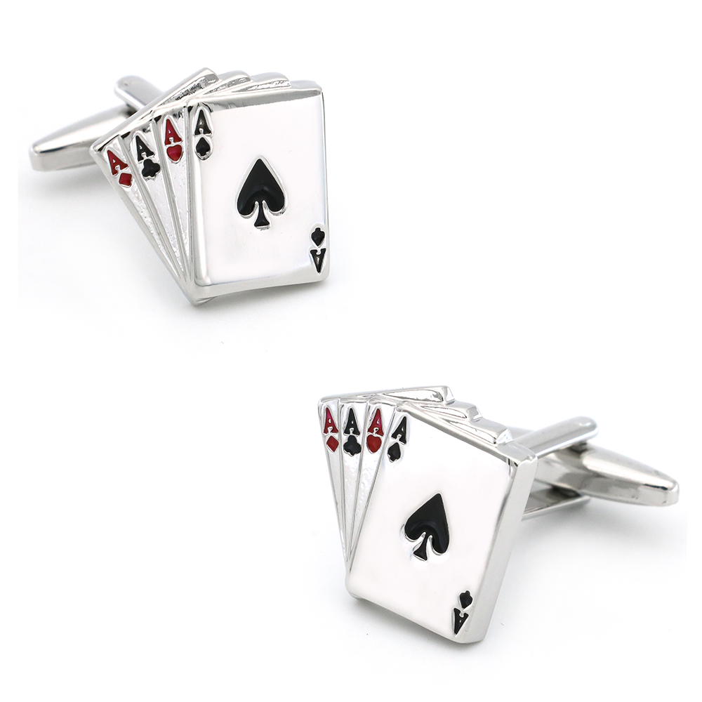Casino Design Gambling Poker 4 Aces Cufflinks Quality Brass Material Silver Color Cuff Links Wholesale & Retail