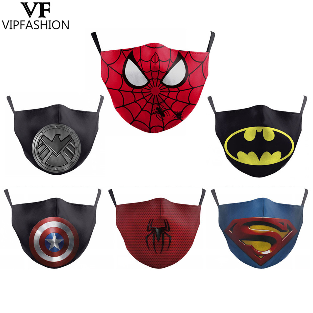 Fashion Reusable Adult Anime Print Mouth Face Mask Spiderman Batman Kids Mask Windproof Proof Flu Washable Fabric Mask For Party
