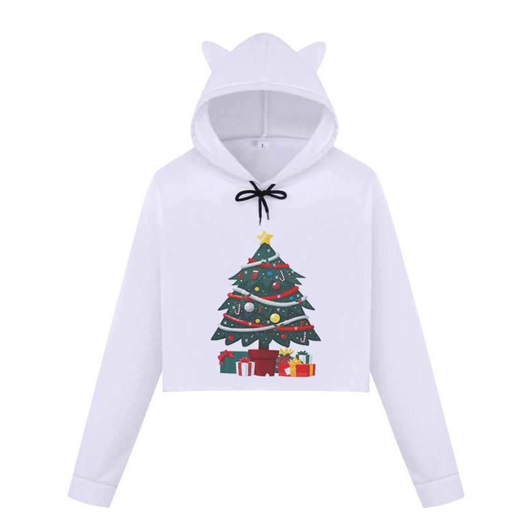 Women's long Sleeve Christmas Printed Cat Ear Hooded Sweatshirt Blouse Long Sleeve Pullover Sweatshirt Ladies Crop Tops#T2