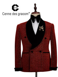 Men Suit Costume Tuxedo Slim-Fit Singer Wedding Two-Pieces Double-Breasted Graoom New