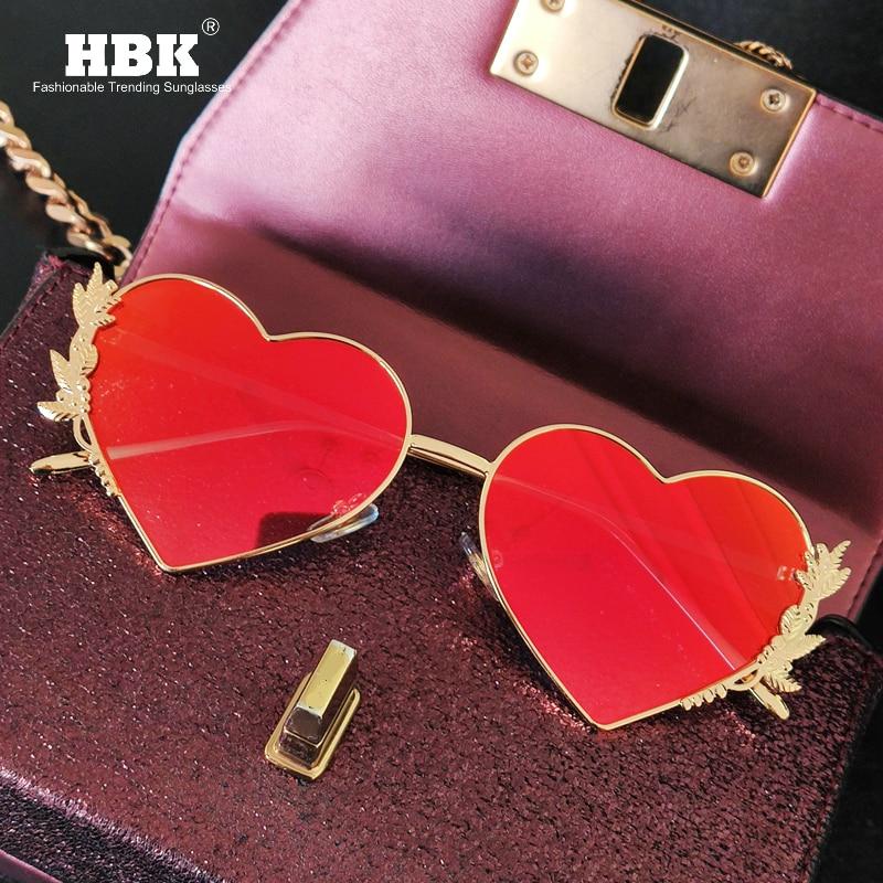Новые модные солнцезащитные очки в форме сердца, металлические женские роскошные уникальные брендовые дизайнерские красные зеркальные линзы в форме сердца, солнцезащитные очки для мужчин UV400