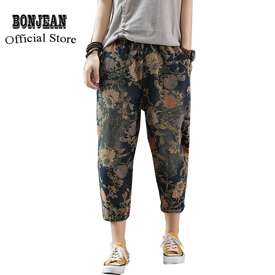Women Jeans Denim Pants Capris Retro Vintage Casual Fashion for Summer Big Loose Embroidery Floral Elastic Waist AZ64181817