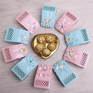 12 sztuk wstążki pudełka na cukierki dla niemowląt noworodków prysznic torby urodzinowe Favor prezent TER