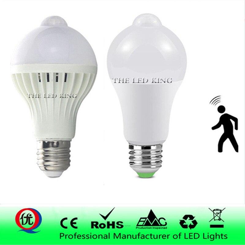 Светодиодный датчик движения PIR лампа E27 220 В 7 Вт 9 Вт 12 Вт 15 Вт автоматический ВКЛ/ВЫКЛ светодиодный светильник чувствительный детектор движения человеческого тела светильник s
