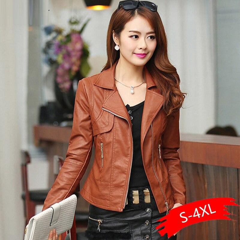 Plus Size 4XL Pu   Leather   Jacket Autumn Women Slim Motor Outwear Coat Zippers Roupas De Couro Female Elegant Punk Coat