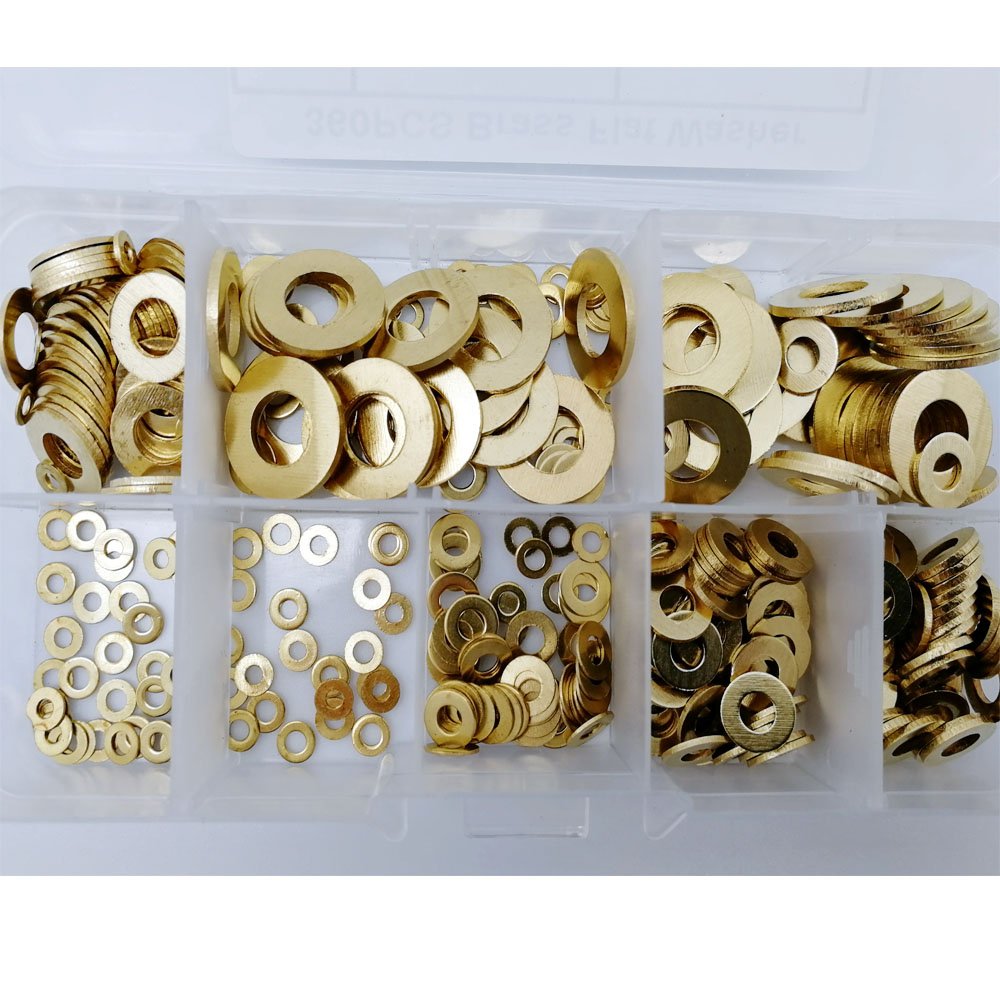 360pcs Brass flat washer M2 M3 M4 M5 M6 M8 M10 Brass gasket Assortment Kit retaining ring spacer image