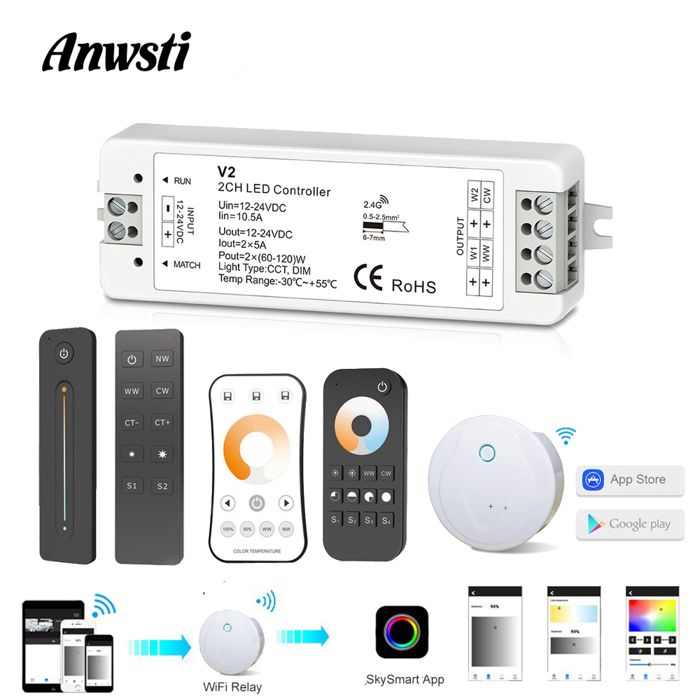 CCT LED Controller 12V 24V 2CH 10A RF 2.4G Wireless Remote 12 Volt WW CW Smart Wifi Dimmer Controller for Dual White Single Color CT LED Strip Light