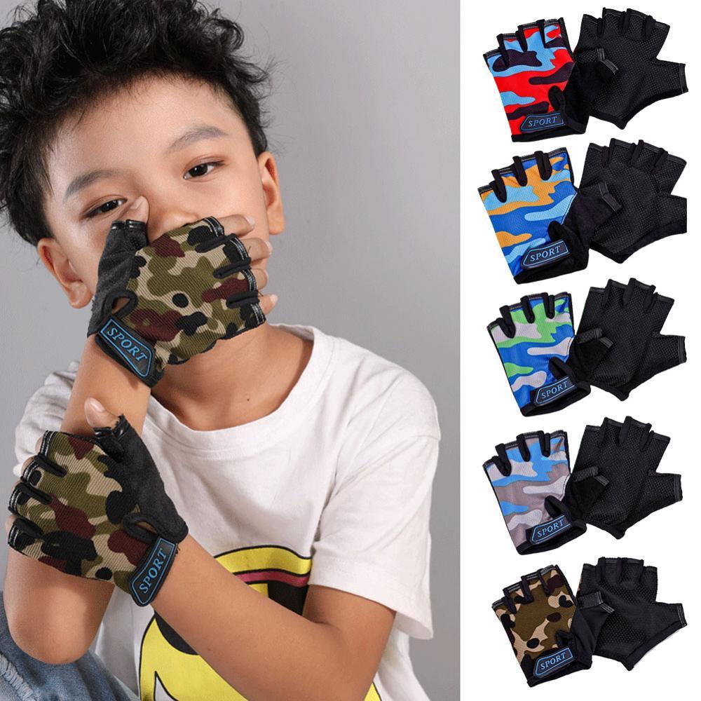 Детские велосипедные камуфляжные полуперчатки с пальцами, высокоэластичные Нескользящие велосипедные перчатки, оборудование для верхово...