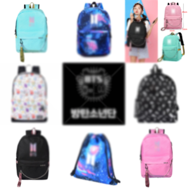 KPOP Travel Laptop Backpack For Women Oxford Unisex Softback Travel Backpacks Kpop Cartoon Printing Backpack USB Headphone Port