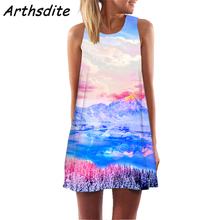 Arthsdite Women Sleeveless Dress 2019 Summer New Arrival Casual Loose Beach Holiday Floral Print Tank Above Knee