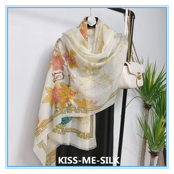 KMS Chinese culture wool cashmere scarf Cloisonne drawing shawl for Girl Lady Women 100*200cm/100G