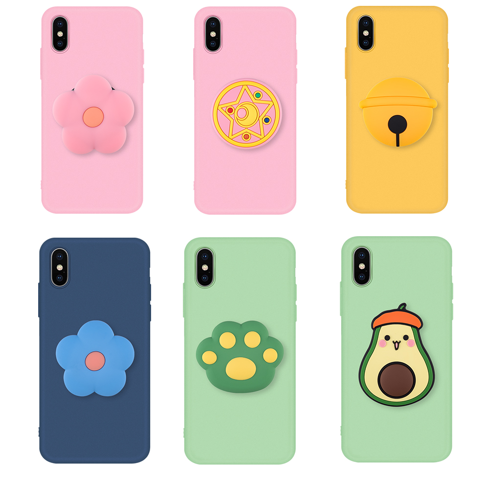 <font><b>3D</b></font> Silicone <font><b>Cartoon</b></font> Phone Holder Case For <font><b>iPhone</b></font> 11 Pro X XR XS Max 6 7 8 Plus 6s <font><b>5s</b></font> Se Cute Stand Back Cover Coque <font><b>Fundas</b></font> Cover image