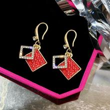 Classic Geometric Crystal Women Drop Earrings Red Luxury Designer Jewelry For Accessories