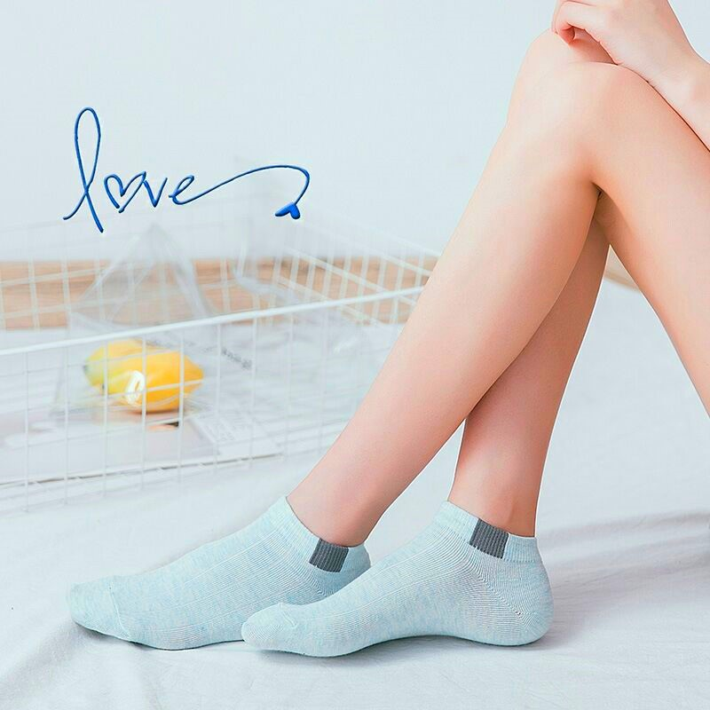 5 Pairs Women Comfortable Stripe Cotton Candy Color Short Socks Female Slippers Casual  Ankle Socks High Quality New Fashion