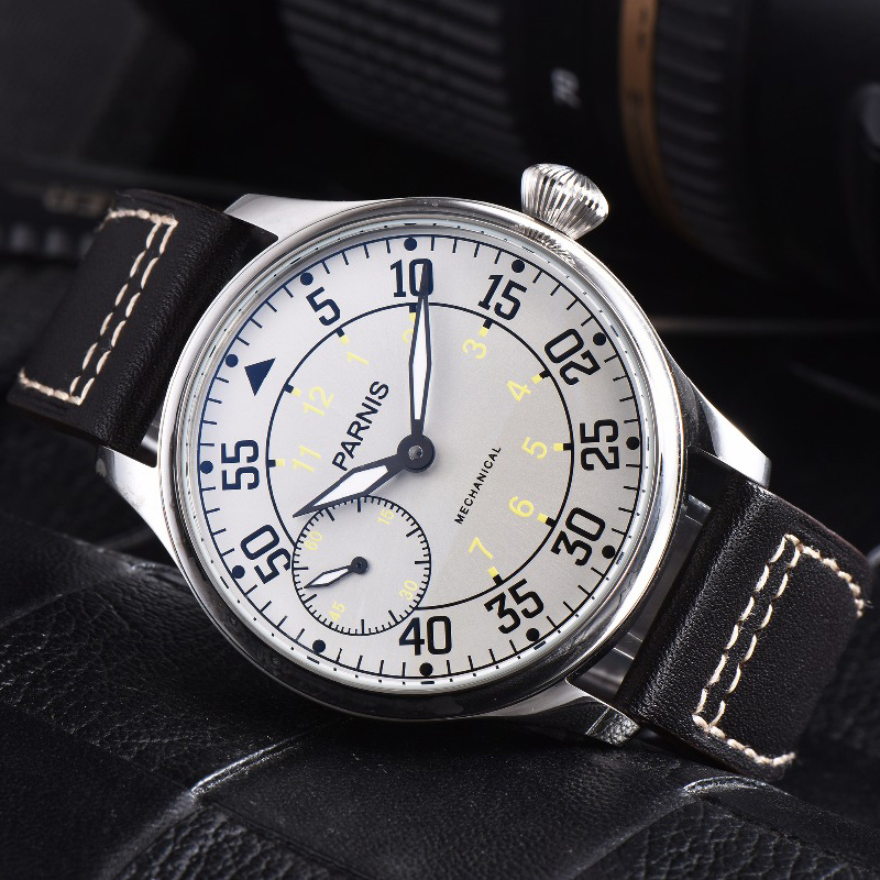 Parnis 44mm Watch Men Hand Winding Mechanical Watches 17 Jewels Movement Luminous Waterproof Leather Strap Male Wristwatch