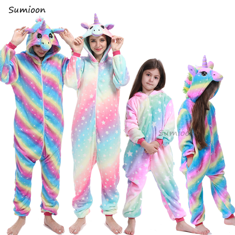 Winter Animal Onesie Kids Kigurumi Pajamas Unicorn Sleepwear For Women Pijama Baby Jumpsuit Girl Boy Sleepers Blanket Overalls