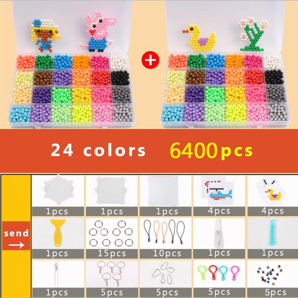DOLLRYGA Puzzle Bolas Aqua Hama Beads 5mm Set Bead Girl Gift Bracelet Weaving Bands Loom Handicraft 24 Colors 6400pcs Beads Sets(China)