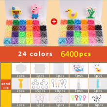 DOLLRYGA Puzzle Bolas Aqua Hama Beads 5mm Set Bead Girl Gift Bracelet Weaving Bands Loom Handicraft 24 Colors 6400pcs Beads Sets