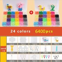 DOLLRYGA Puzzle Bolas Aqua Hama Beads 5mm Set Bead Girl Gift Bracelet Weaving Bands Loom Handicraft 24 Colors 6400pcs Beads Sets