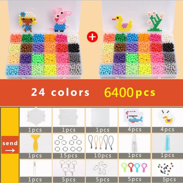 Juego de cuentas DOLLRYGA puzle Bolas Aqua Hama de 5mm para regalo de niña, pulseras tejidas, manualidades de telar, 24 colores, juegos de cuentas de 6400 Uds