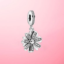 925 Sterling Silver Sparkling Daisy Flower Dangle Charm Beads fit Original Pandora Charms Bracelet Pendant Necklace Jewelry Gift charms blue daisy flower charm 100