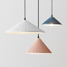 Creative single head resin macaron color pendant lamp Nordic simple pink restaurant decor LED E27 lighting conical ripple design