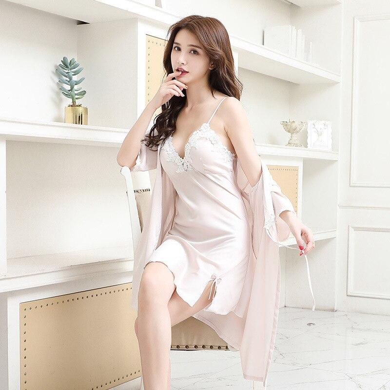 FZSLCYIYI 2pcs Women's Sleep Lounge Robe Gown Sets Sleepwear Womens Sleep Set Femme Lingerie Set Nightwear Lace Homewear